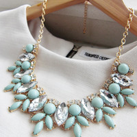 Mint Green Jewel Crystal Statement Necklace