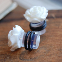 00g (10mm) Bright White Rose Flower Plugs for stretched ears