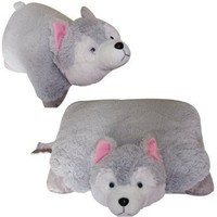 "WOLF PILLOW PET WHITE, LARGE 18"" HUSKY ""PLUSH & PLUSH"" BRAND"