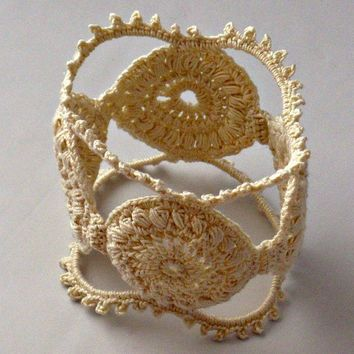 Handmade Fine Thread Irish Crochet Medallion by Nothingbutstring