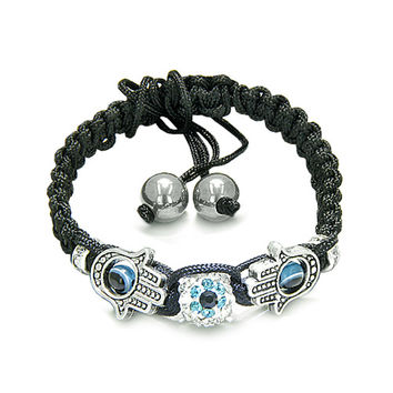 Evil Eye Protection Amulet Hamsa Hand Black Knotted Cord Bracelet Simulated-Hematite Beads