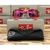Ray-Ban Aviator Sunglasses RB3025 112/4T 58mm Matte Gold Frame/Hot Pink Lens!!