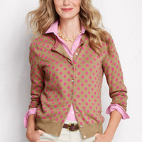 Women's Long Sleeve Print Fine Gauge Supima Cardigan from Lands' End