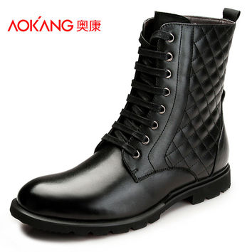 Aokang 2016 Mens British Martin Boots Genuine Leather Shoes Winter boots Men's Ankle Booties Cowboy Boot Fashion Casual Shoes