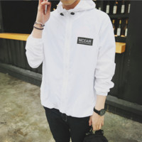 Autumn new wave of outdoor men 's brand sports coat windbreaker couple beach sunscreen clothing White letters