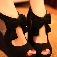 [grzxy61900027]Sweet Bowknot Peep-toe Wedge High-heeled Shoe from styleonline