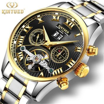 2017KINYUED blue surface Tourbillon automatic mechanical waterproof week calendar luminous month men's watches