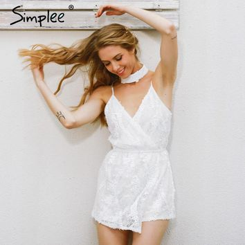 Sexy halter sequined jumpsuit romper Chic deep v neck white lace women Summer sleeveless party club