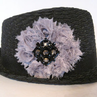 Black Packable Fedora  Hat with a Grey Chiffon Flower and a Black and Smokey Rhinestone Brooch Accent