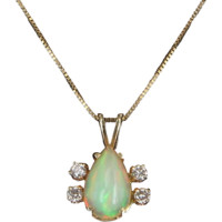 Natural Opal Pendant Necklace Vintage 14 Karat Yellow Gold Estate Fine Jewelr