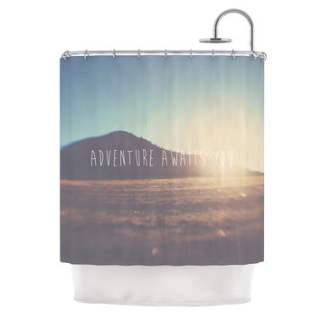 "Laura Evans ""Adventure Awaits You"" Coastal Typography Shower Curtain"