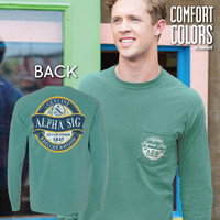 New! Alpha Sigma Phi Faded Green Comfort Colors Long Sleeve Pocket Tee