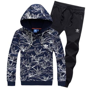 NOV9O2 Adidas Top Sweater Pullover Hoodie Pants Trousers Set Two-Piece Sportswear-2