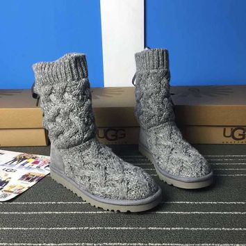 LFMON UGG 1008840 Knitted Women Fashion Casual Wool Winter Snow Boots Grey