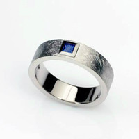 Blue sapphire ring, white gold, men's sapphire ring, mens wedding band, princess cut sapphire, modern, scratched, promise ring, unique