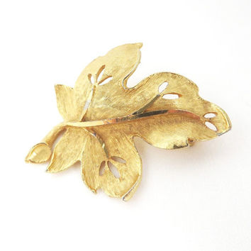 Vintage BSK Gold Tone Leaf Brooch Pin, Christmas Gift For Her