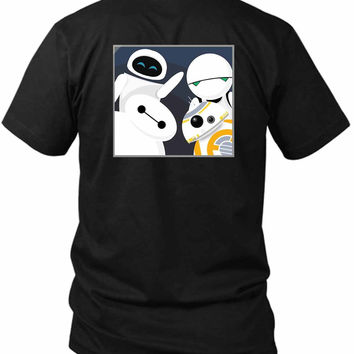 Baymax And Friends Selfie 2 Sided Black Mens T Shirt