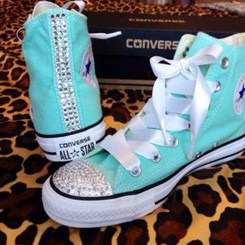 DCKL9 Rhinestone High Top Converse with Ribbon Laces