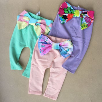 Big Bow Baby Girl Baggy Pants 2017 Spring Candy Colors Casual Cross Pants Trousers Kids Girls Leggings Clothing