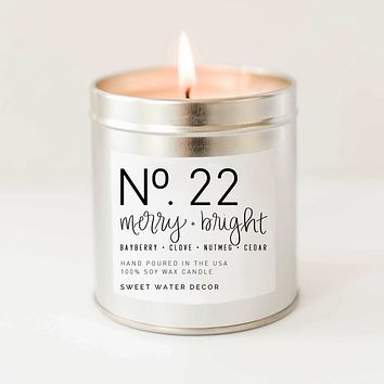 Merry and Bright Soy Candle | Silver Tin Candle
