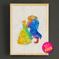 Beauty and the Beast Watercolor Art Print Disney Belle Princess Poster House Wear Wall Decor Gift Linen Print - Buy 2 Get FREE - 13s2g
