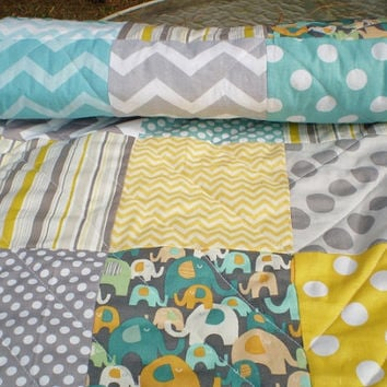 Modern Baby quilt,Teal,grey,yellow,aqua,Patchwork crib quilt,woodland,rustic,baby boy bedding,baby girl quilt,elephant,toddler baby blanket