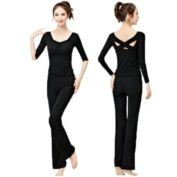 Women's Fitness Yoga Long Sleeve Clothes Set Modal Slim Yoga Dance Suits Outfit 2 Pieces