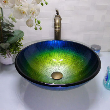 Bathroom Round Tempered Glass Above Counter Wash Basin Cloakroom Counter Top Vessel Sink Hx012