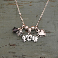 TCU Horned Frogs Crystal Bead Duo, Heart & Logo Charms Necklace