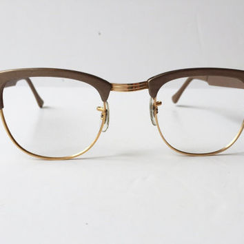 Vintage S.R.O Light Brown Eyeglass Frames, Mink Styl-Rite Cateye Eyeglass Frames, Made in USA 1960s Style Rite Light Brown Sunglass Frames