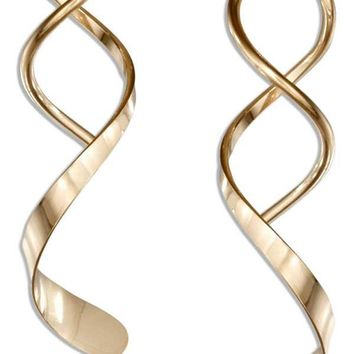 12 Karat Gold Filled Spiral Streamer With Wide End Wire Earrings