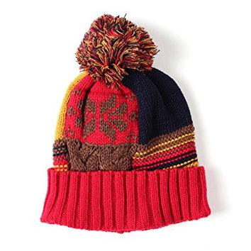 WITHMOONS SG203 Fairs Isle Nordic Beanie Pom Knit Hat (Red)