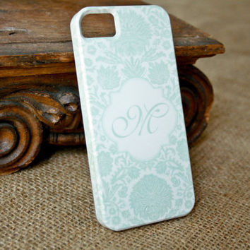 Retro Seafoam Green iPhone5 Case, Monogram Damask Floral iPhone 5 Case