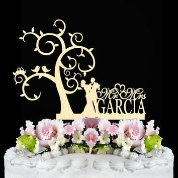 Rustic Wedding Cake Topper, bride and groom with personalized cake topper, Wooden monogtam Cake Toppers, unique initial wedding cake topper