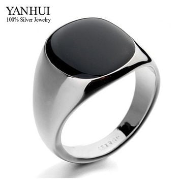 YANHUI Hot Sale Fashion Men's Black Wedding Rings For Men Luxury 18K Gold Filled Black Onyx Stone Crystal Ring Men Jewelry YR034