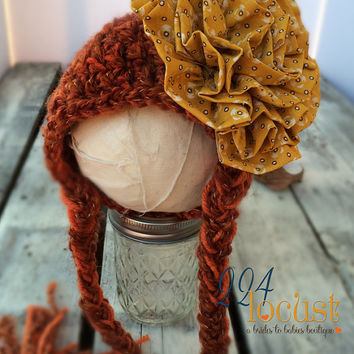 Baby Hat size 0-12 mos, Rust Baby Hat, Flower Hat, Fanciful Fall 2015 Collection, Baby Hat, Newborn Pictures, Photo Prop, Photography Prop