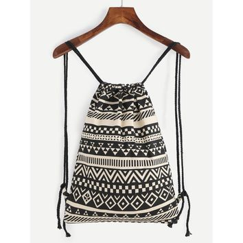 Canvas Geometric Bucket Backpack With Rope Strap