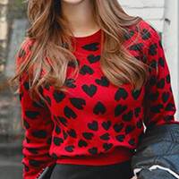 Red Heart Jacquard Long Sleeve Sweater
