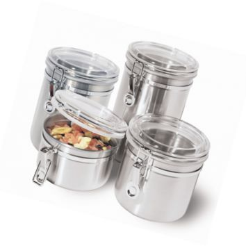 Oggi 4-Piece Stainless Steel Canister Set with Acrylic Lid and Clamp-Set Include