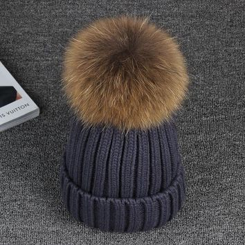 ICIKJG2 15cm Real Raccoon Fur Pom poms Ball  Knitted Winter Hat For Women Girl 's Cotton Skullies Beanies  Brand New Thick Female Cap