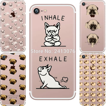 phone cases Pug dogs Attack Clear soft silicon TPU fundas capa coque case cover for Apple iphone 5S SE 7 7plus 6 6S 6plus 6Splus