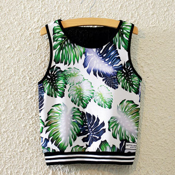 New Summer Fashion Leaf Pattern Print Midriff High Waist Crop Tops Sportgym Vest = 4765288388