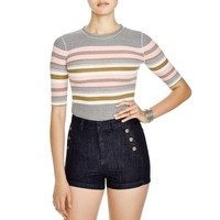 Free People Womens Donnas Ribbed Knit Striped Casual Top
