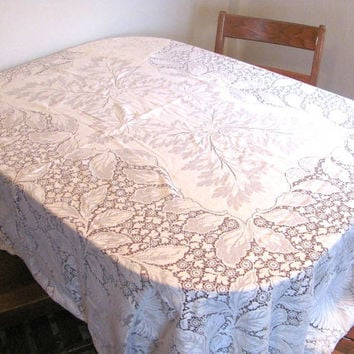 Vintage white lace floral tablecloth