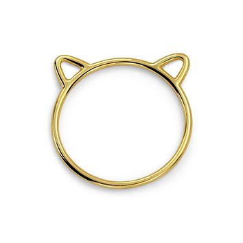Midi Knuckle 1MM Band Ears Cat Ring 14K Gold Plate 925 Sterling Silver