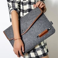 "4 size laptop inner hasp bag 11"" 12"" 13"" 15"" wool felt envelope notebook laptop bag for Macbook"