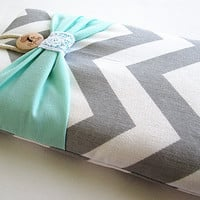 Mint Bow Kindle Sleeve, Kindle fire sleeve cover, nook cover, ereader sleeve cover.