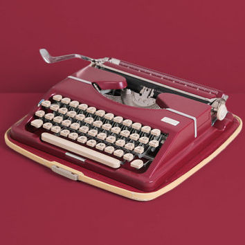 Late 1950s Adler Tippa Typewriter. Excellent fully working conditon. Dark red. German vintage. With Case. Mid century modern.