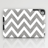 gray chevron iPad Case by Her Art