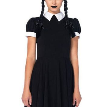 CREYI7E The 2PC. Gothic Darling, Classic Collared Dress, Braided Wig w/Bows in Black and White